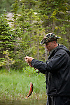 fly fishing at Thunder Lake, summer, fisherman, outdoor, recreation, sport, Rocky Mountain National Park, Colorado, USA, Rocky Mountains