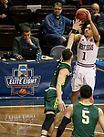 SIOUX FALLS, SD - MARCH 20: David Chavlovich #1 from West Texas A&M shoots a three pointer over Russell Sangster #1 from Le Moyne during their quarterfinal game at the 2018 Elite Eight Men's NCAA DII Basketball Championship at the Sanford Pentagon in Sioux Falls, SD. (Photo by Dave Eggen/Inertia)