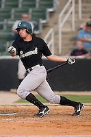 Michael Parker (5) of the Savannah Sand Gnats follows through on his swing at Fieldcrest Cannon Stadium in Kannapolis, NC, Sunday July 20, 2008. (Photo by Brian Westerholt / Four Seam Images)
