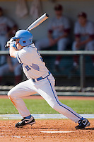 Mike Cavasinni #11 of the North Carolina Tar Heels follows through on his swing against the Florida State Seminoles at Boshamer Stadium March 20, 2010, in Chapel Hill, North Carolina.  Photo by Brian Westerholt / Four Seam Images