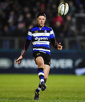 Rhys Priestland of Bath Rugby kicks for territory. Anglo-Welsh Cup match, between Bath Rugby and Gloucester Rugby on January 27, 2017 at the Recreation Ground in Bath, England. Photo by: Patrick Khachfe / Onside ImagesAnglo-Welsh Cup.