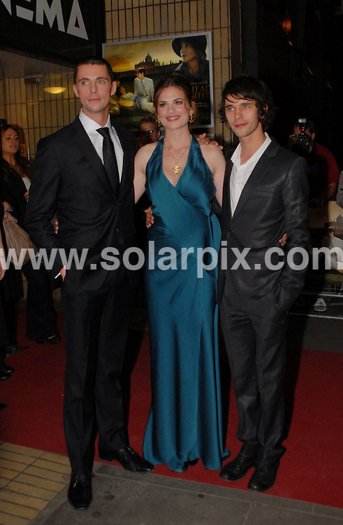 **ALL ROUND PICTURES FROM SOLARPIX.COM**.**WORLDWIDE SYNDICATION RIGHTS**.Cast and crew were at Chelsea's Bluebird Restaurant for the pre-premiere party of the new film version of Evelyn Waugh's 'Brideshead Revisited', London, UK. 29th September 2008..This pic: Matthew Goode, Hayley Atwell and Ben Wishaw..JOB REF: 7487 BTT     DATE: 29_09_2008.**MUST CREDIT SOLARPIX.COM OR DOUBLE FEE WILL BE CHARGED* *UNDER NO CIRCUMSTANCES IS THIS IMAGE TO BE REPRODUCED FOR ANY ONLINE EDITION WITHOUT PRIOR PERMISSION*