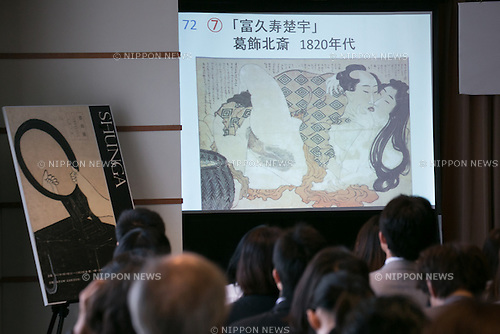 People look at a shunga paint during a press conference to promote ''Shunga'', an exhibition of Japanese erotic art, at the Foreign Correspondents Club of Japan on May 21, 2015, Tokyo, Japan. The exhibition is organized with the collaboration of museums in Japan, Britain and other European countries, and showcases 120 shunga paintings which will be displayed together for the first time. Shunga is a Japanese erotic art, which was produced between 1600 and 1900, and continues to influence manga, anime and Japanese tattoo art. The actual exhibition will be held from September 19th to December 23rd at the Eisei-Bunko Museum. (Photo by Rodrigo Reyes Marin/AFLO)
