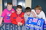 Table Tennis competitors at the KDYS County Games day in Killarney on Sunday was l-r: Sean Brosnan Annuscaul, Eoin Curry Camp, Cian Kennedy Annuscaul and Micha?el O'Morain Camp