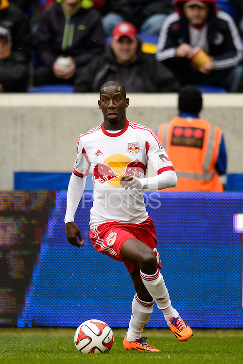 Bradley Wright-Phillips (99) of the New York Red Bulls. The New York Red Bulls and Chivas USA played to a 1-1 tie during a Major League Soccer (MLS) match at Red Bull Arena in Harrison, NJ, on March 30, 2014.
