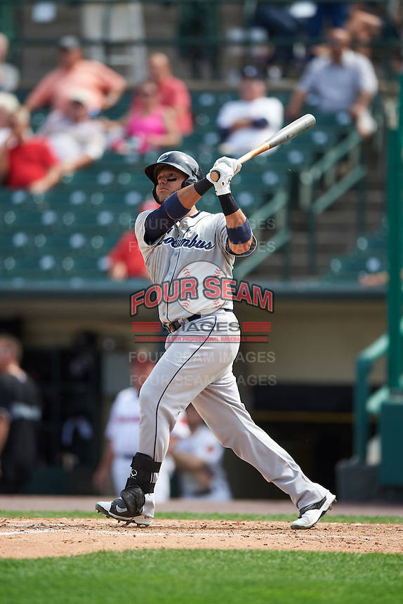 Columbus Clippers catcher Guillermo Quiroz (29) hits a home run during a game against the Rochester Red Wings on June 16, 2016 at Frontier Field in Rochester, New York.  Rochester defeated Columbus 6-2.  (Mike Janes/Four Seam Images)