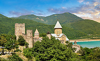 Pictures &amp; images of the Ananuri castle complex &amp; Georgian Orthodox churches, 17th century, Georgia (country).<br /> <br />  Ananuri castle is situated next to the Military Road overlooking the Aragvi River in Georgia, about 45 miles (72 kilometres) from Tbilisi. It was the castle of the eristavis (Dukes) of Aragvi from the 13th century and was the scene of numerous battles. In 2007 Ananuri castle was enscribed on the   UNESCO World Heritage Site tentative list.
