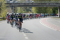 Team Movistar of race favourite Alejandro Valverde (ESP/Movistar) setting the pace in the peloton<br /> <br /> 81st La Fl&egrave;che Wallonne (1.UWT)<br /> One Day Race: Binche &rsaquo; Huy (200.5km)