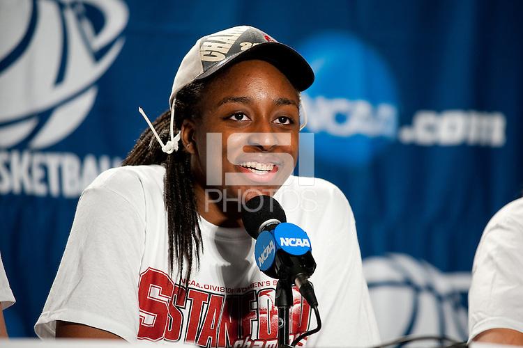 SPOKANE, WA - MARCH 28, 2011: Nnemkadi Ogwumike, Stanford Women's Basketball vs Gonzaga, NCAA West Regional Finals at the Spokane Arena on March 28, 2011.