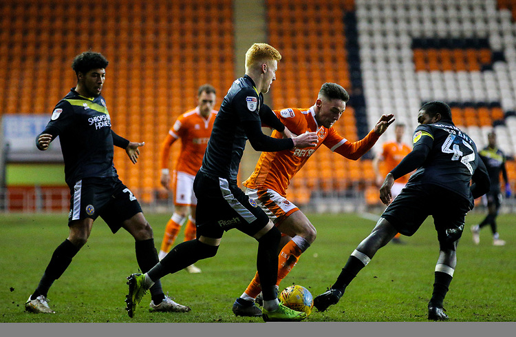 Blackpool's Jordan Thompson takes on Shrewsbury Town's Anthony Grant and Ryan Haynes<br /> <br /> Photographer Alex Dodd/CameraSport<br /> <br /> The EFL Sky Bet League One - Blackpool v Shrewsbury Town - Saturday 19 January 2019 - Bloomfield Road - Blackpool<br /> <br /> World Copyright © 2019 CameraSport. All rights reserved. 43 Linden Ave. Countesthorpe. Leicester. England. LE8 5PG - Tel: +44 (0) 116 277 4147 - admin@camerasport.com - www.camerasport.com