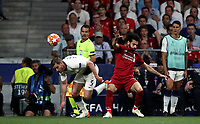 Tottenham Hotspur's Jan Vertonghen, left and Liverpool's Mohamed Salah fight for the ball during the UEFA Champions League final football match between Tottenham Hotspur and Liverpool at Madrid's Wanda Metropolitano Stadium, Spain, June 1, 2019.<br /> UPDATE IMAGES PRESS/Isabella Bonotto