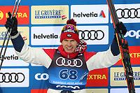 31st December 2019; Dobbiaco, Toblach, South Tyrol, Italy;  FIS Tour de Ski - Cross Country Ski World Cup 2019  in Dobbiaco, Toblach, on December 31, 2019; Mens individual 15km 3rd placed Alexander Bolshunov of Russia celebrates on the podium