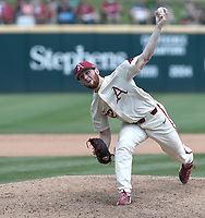 NWA Democrat-Gazette/J.T. WAMPLER Matt Cronin pitches against Texas A&M Sunday May 13, 2018 at Baum Stadium in Fayetteville. Arkansas won 6-3 to sweep the three game series.