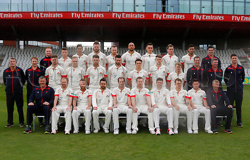 08.04.2016. Old Trafford, Manchester, England. Lancashire County Cricket Press Call. Lancashire CCC 1st XI team group in their Specsavers County Championship strip for the 2016 season.