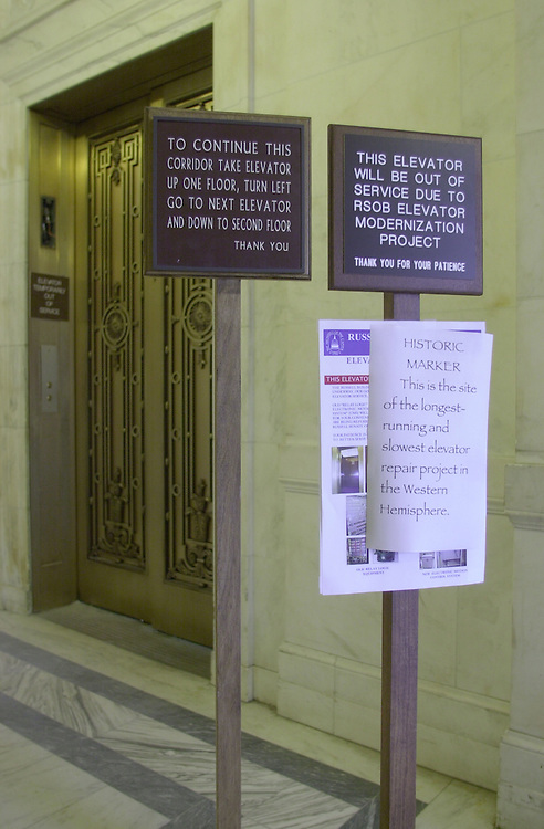 Elevator Repair 2(DG)060500 -- An unauthorized sign appeared on the 2nd floor of the Russell Senate Office Building on the length of the elevator repair..