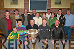 SAM: Kerry and Currow star Seamus Scanlon and team mate Padraig Reidy brought the Sam Maguire to Currow village on Saturday night. Front l-r:   David Enright, Padraig Reidy, Paddy O'Sullivan, Seamus Scanlon and Johnny Scanlon. Back l-r: Pat Brosnan, John Kelly, Mossie Mitchell, Alison Roche, Tommy O'Sullivan, Claire Sweeney-Enright, Shane Roche, Chris O'Sullivan, James Brosnan and Connie Enright.