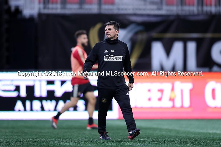 ATLANTA, GA - DECEMBER 07: Atlanta United FC assistant coach Dario Sala. The MLS Cup 2018 Team Training Sessions were held on December 7, 2018 at the Mercedes Benz Stadium in Atlanta, GA.