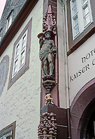 Goslar: Statue of Abundance on gabled  ridge of Kaiserworth, beneath the Ducat Man. Photo '87.
