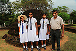 School girls and adult, Polonnaruwa, North Central Province, Sri Lanka, Asia