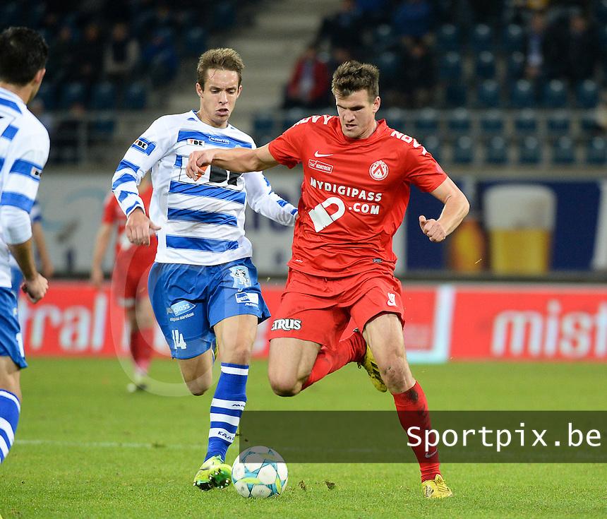 AA Gent - KV Kortrijk : Ivan Santini (rechts) aan de bal voor David Hubert (links)<br /> foto VDB / Bart Vandenbroucke
