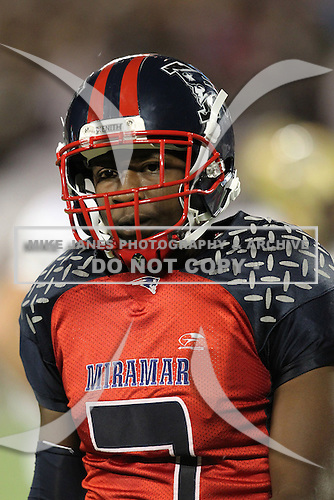 Miramar Patriots wide receiver Devonte Mathis #7 walking to the sideline during the second quarter of the Florida High School Athletic Association 8A Championship Game at Florida's Citrus Bowl on December 17, 2011 in Orlando, Florida.  Plant defeated Miramar 31-20.  (Mike Janes/Four Seam Images via AP Images)