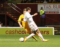 Clark Robertson fouls Henrik Ojamaa to concede a penalty in the Motherwell v Aberdeen, Clydesdale Bank Scottish Premier League match at Fir Park, Motherwell on 26.12.12.