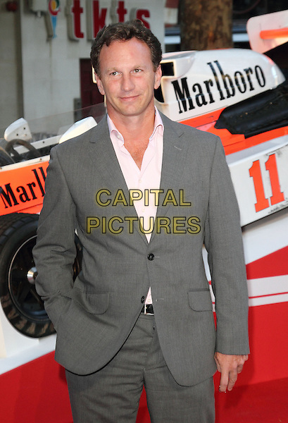 Christian Horner<br /> The World Premiere of 'Rush' at the Odeon Leicester Square, London, England.<br /> September 2nd, 2013<br /> half length grey gray pink shirt suit hand in pocket<br /> CAP/ROS<br /> &copy;Steve Ross/Capital Pictures