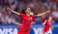 LYON,  - JULY 2: Alex Morgan #13 celebrates during a game between England and USWNT at Stade de Lyon on July 2, 2019 in Lyon, France.