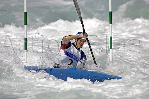 20 August 2004: Campbell Walsh from Great Britain (GBR) races down the course during the Final of the the Men's K1 Kayak Slalom Race held at the Olympic Canoe/Kayak Slalom Centre. Walsh won the silver medal. 2004 Olympic Games, Athens, Greece. Photo: Neil Tingle/Action Plus..040820 olympic olympics water watersport watersports sport kayaking kayak..