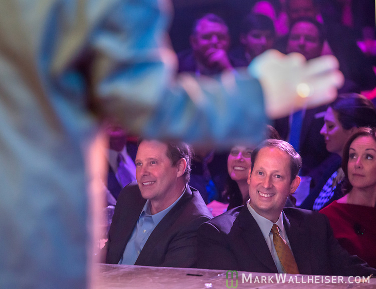 Senator Wilton Simpson, left, and Senate President Joe Negron watch the 62nd Annual Press Skits 2017, The Crony Awards, sponsored by the Florida Capitol Press Corps, held at The Moon in Tallahassee, Florida March 14, 2017.  The funds raised go to the Barbara Frye Scholarship Fund supporting Florida journalism students attending Florida schools.