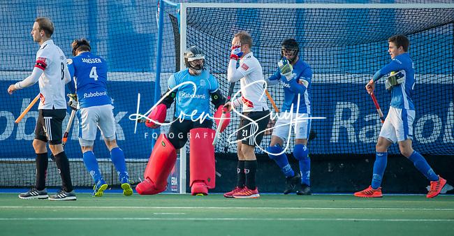 UTRECHT - keeper David Wolff (Kampong)   tijdens de hoofdklasse hockeywedstrijd mannen, Kampong-Amsterdam (4-3). COPYRIGHT KOEN SUYK