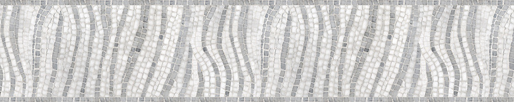 "8"" Dune border, a hand-chopped stone mosaic, shown in tumbled Carrara and Thassos."
