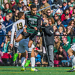 3 October 2015: Binghamton University Bearcat Forward Logan Roberts, a Junior from Syracuse, NY, in action against the University of Vermont Catamounts at Virtue Field in Burlington, Vermont. The Bearcats held on to defeat the Catamounts 2-1 in America East conference play. Mandatory Credit: Ed Wolfstein Photo *** RAW (NEF) Image File Available ***