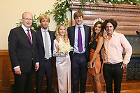 Mariage civil du Prince Ernst junior de Hanovre et de Ekaterina Malysheva, &agrave; l' h&ocirc;tel de ville de Hanovre.<br /> Allemagne, Hanovre, 6 juillet 2017.<br /> Civil wedding of Prince Ernst Junior of Hanover and Ekaterina Malysheva at the new Town Hall in Hanover.<br /> Germany, Hanover, 6 july 2017<br /> Pic : Lord Mayor Stefan Schostok, Prince Christian of Hanover, Ekaterina Malysheva, Prince Ernst Junior of Hanover and Dina Amer with Julio Santo domingo <br /> Pool photos