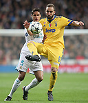 Real Madrid's Raphael Varane (l) and Juventus Football Club's Gonzalo Higuain during Champions League Quarter-Finals 2nd leg match. April 11,2018. (ALTERPHOTOS/Acero)