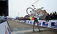 race winner: Sven Nys (BEL) kissing his new ride across the finishline<br /> <br /> GP Sven Nys 2014