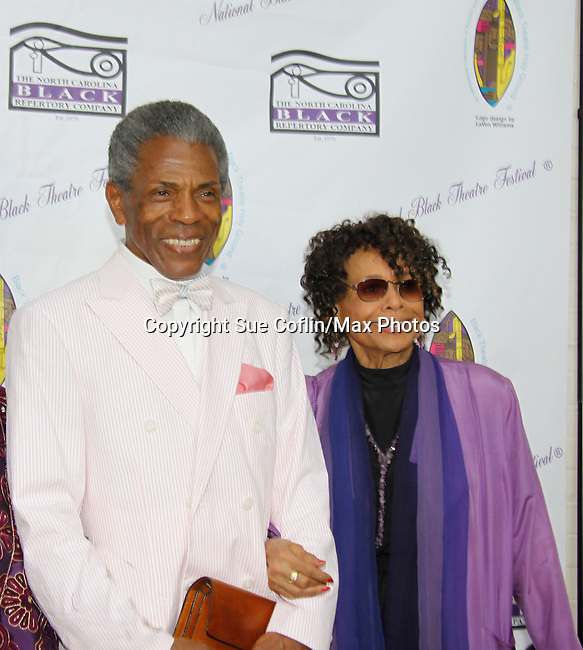 "Andre De Shields ""Marshall Lincoln Kramer III"" poses with Micki Grant both were on Another World entertain at The National Black Theatre Festival with a week of plays, workshops and much more with an opening night gala of dinner, awards presentation followed by Black Stars of the Great White Way followed by a celebrity reception. It is an International Celebration and Reunion of Spirit. (Photo by Sue Coflin/Max Photos)"