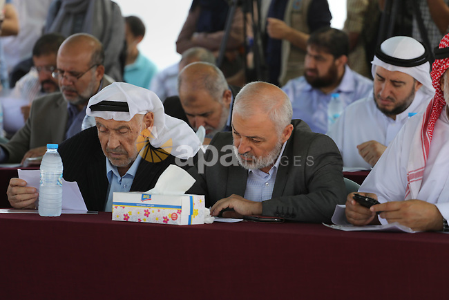 Members of the Palestinian legislative council from Hamas movement attend a meeting at the legislative council, at seaport of Gaza city, on 01 June 2016. Photo by Mohammed Asad