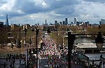 London Marathon 2012.London skyline including The Shard and the Gerkhin building..Marathon runners go along near Canary Wharf.....Pic by Gavin Rodgers/Pixel 8000 Ltd