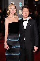 Sam Rockwell and Leslie Bibb<br /> arriving for the BAFTA Film Awards 2018 at the Royal Albert Hall, London<br /> <br /> <br /> ©Ash Knotek  D3381  18/02/2018