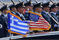 Pictured: A Greek and US flags on the presidential limousine at the Eleftherios Venizelos Airport in Athens, Greece. Tuesday 15 November 2016<br /> Re: US President Barack Obama state visit to Greece