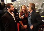 LOS ANGELES, CA - APRIL 18:  Jackson Browne, right, and Dianna Cohen talk to the media at the 2013 Rock and Roll Hall of Fame Induction Ceremony at the Nokia Theatre in Los Angeles, CA. (Photo by Dave Eggen/Inertia)