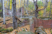 Remnants of the powerhouse in the abandoned village of Livermore during the autumn months. This was a logging village in the late 19th and early 20th centuries along the Sawyer River Railroad in Livermore, New Hampshire. The town and railroad were owned by the Saunders family.