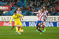 Atletico de Madrid´s Miranda and Villarreal´s Luciano Dario Vietto during 2014-15 La Liga match between Atletico de Madrid and Villarreal at Vicente Calderon stadium in Madrid, Spain. December 14, 2014. (ALTERPHOTOS/Luis Fernandez) /NortePhoto