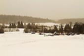 A snowy winter afternoon field landscape