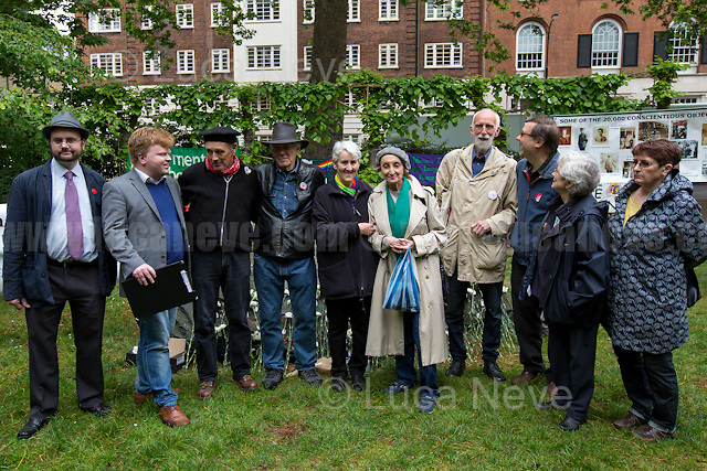 London, 15/05/2017. To mark and commemorate Conscientious Objectors' Day members of the public gathered at the Conscientious Objectors' stone Memorial in Tavistock Square. Every year a Ceremony (speeches, poetry, music and a minute of silence) takes place in London to remember the courage of the Conscientious Objectors, people &quot;who has claimed the right to refuse to perform military service&quot; (Source - Wikipedia.org). The event was organised by: Peace Pledge Union, Pax Christi, Conscience: Taxes for Peace not War, Movement for the Abolition of War and Veterans For Peace UK. From the organisers Facebook event page: &lt;&lt;Guest speakers: Sir Mark Rylance and Nick Jeffrey (Vietnam War draft resister). We gather each year at the Conscientious Objectors&rsquo; stone for the annual ceremony in honour of COs past and present [&hellip;] of all countries and all times [&hellip;]&gt;&gt;.<br />