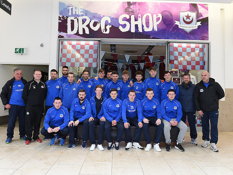 DRogheda United team pictured at the Drog Shop in Scotch Hall. Photo:Colin Bell/pressphotos.ie