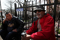 (180404RREI9628) Ricardo on right. Street meeting at the pocket park at Mt. Pleasant St and Kenyon St. NW with los esquineros, Councilmember Brianne Nadeau, Arturo Griffiths and the manager of 7-11. About 20 neighbors participated, Washington DC. April 4, 2018 . ©  Rick Reinhard  2018     email   rick@rickreinhard.com