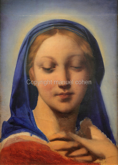 Bust of the Virgin, c. 1850, oil on paper on canvas, by Jean-Auguste-Dominique Ingres, 1780-1867, in Le MUDO, or the Musee de l'Oise, Beauvais, Picardy, France. Picture by Manuel Cohen
