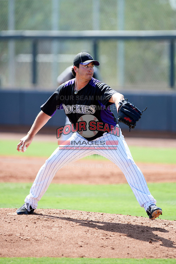 Colorado Rockies minor league pitcher Chad Bettis #38 during an instructional league intrasquad game at the Salt River Flats Complex on October 5, 2012 in Scottsdale, Arizona.  (Mike Janes/Four Seam Images)